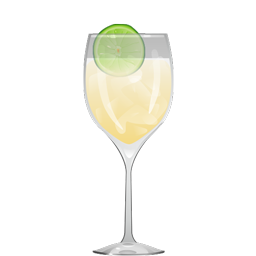 Spritzer cocktail with white wine, sparkling water, and citrus wedge