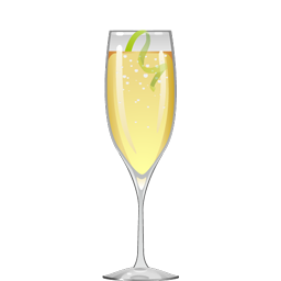 Swedish 60 cocktail with aquavit, lime juice, simple syrup, and sparkling wine