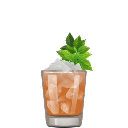 TJ Smash cocktail with bourbon, lemon juice, simple syrup, Angostura bitters, and mint leaves