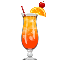 Tequila Sunrise cocktail with orange juice and grenadine