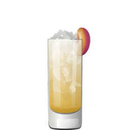 Tesla Collins highball cocktail with Slivovitz, lemon juice, simple syrup, vanilla syrup, honey syrup, oleo saccharum, and club soda