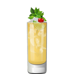 Trader Vic's Grog cocktail, with dark rum, passion fruit syrup, pineapple juice, lemon juice, and Angostura bitters