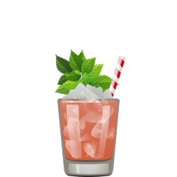 Watermelon Julep with bourbon, watermelon juice, mint syrup, and sparkling water