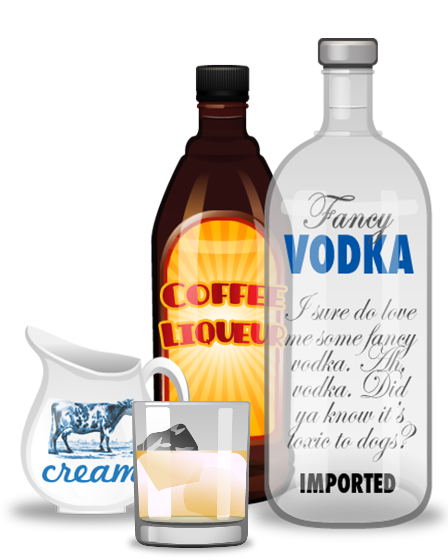 White Russian cocktail ingredients - coffee liqueur, vodka, cream