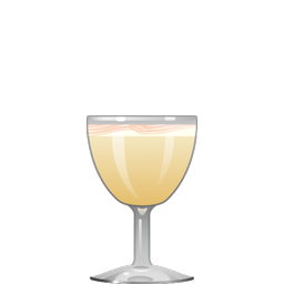 White Wedding sour cocktail with soju, elderflower syrup, triple sec, lime juice, orange juice, egg white, and Angostura bitters