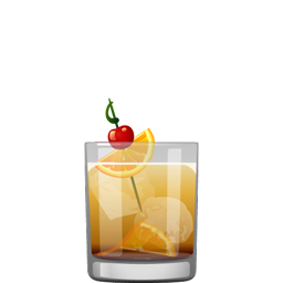 Wisconsin Old Fashioned cocktail with orange slices, brandied cherries, Angostura bitters, sugar cube, lemon-lime soda, and brandy