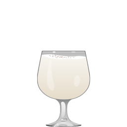 Zoom cocktail with cognac, sweet cream, milk, and honey syrup